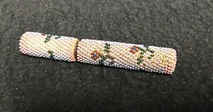 Victorian Beaded Needle Case- Wiener Werkstatte Style Floral Decoration