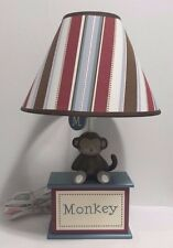 CoCaLo Baby Nursery Monkey Lamp w/ shade Red Brown and Blue Stripes EUC