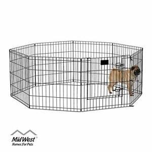"""Folding Metal Exercise Pet, Dogs Playpen with Door, 24"""" H x 24"""" W , Black"""