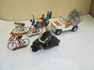 SALZA/COFALU lot Tour de France - jeep,  ardoisier, side car police,3 cycliste