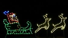 SM Santa Claus Sleigh w Reindeer Outdoor LED Lighted Decoration Steel Wireframe