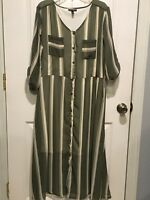 Allison Brittney XL Woman's Green And Beige Shirt Dress