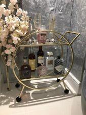Art Deco Drinks Trolley Antique Gold Style Glass Shelfs On Wheels Brand New