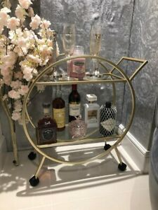 Art Deco Drinks Trolley Antique Gold Style Glass Shelfs On Wheels Brand New