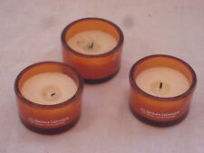 Lot de 3 Bougies support en verre orange noté Secours Catholique