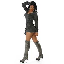 SEXY abito VESTITO maglina LUREX manica lunga taglia s/m (40/42) fashion GLAMOUR