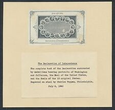 """""""THE DECLARATION OF INDEPENDENCE"""" DIE PROOF ON INDIA ON 16 DIFF VIGNETTES BR1140"""