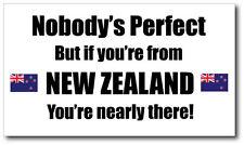 NEW ZEALAND - NOBODY'S PERFECT - Kiwi / Maori Vinyl Sticker - 21 cm x 12 cm