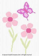 Crochet Patterns - DAISY FLOWERS WITH BUTTERFLY Baby Afghan Pattern *EASY*