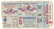 1957 World Series Game 6 Ticket Yankees Braves
