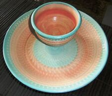 CHIP 'N DIP BOWL - WATTLE GROVE POTTERY ~ SERVING DISH ~ UNIQUE ~ UNWANTED