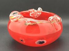 Murano Glass red Coloured bowl with millefiori canes & applied clear glass