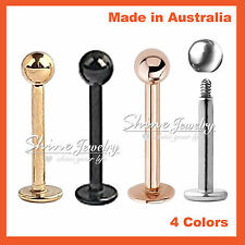 Silver Rose Gold Black Steel Bar Ball Stud Labret Lip Ear Helix Tragus Piercing