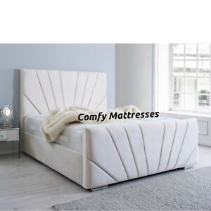 Plush Velvet Sunrise Sleigh Bed And Memory Foam Mattress Available in All Sizes