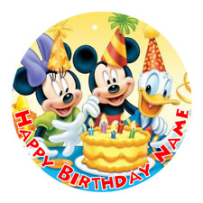 Mickey Mouse Personalised Edible Kids Party Cake Decoration Topper Round Image