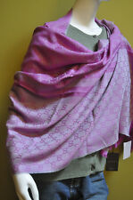 GUCCI GG Italy Signature Web Wool Silk XL Pink Grey Scarf Pashmina Dust Bag