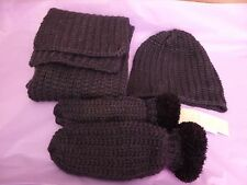 Fransa new dark grey knitted scarf, hat and faux fur lined mittens
