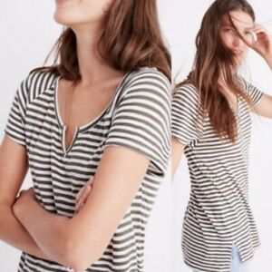 Madewell Choral Split Neck Tee Olive Green White Striped sz L Women's top shirt