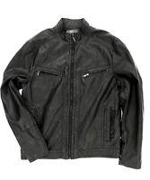 Kenneth Cole Reaction Men's Faux Leather Bomber, Black size L