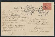 1907 Carte Postale N°129 10c rose CAD Perlé Gedre. TB. P552