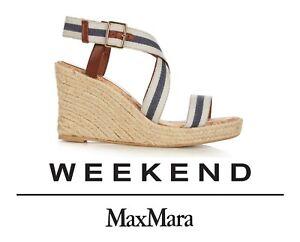 WEEKEND MAX MARA Deodara nautical espadrille wedge NIB 36/6 AU$325