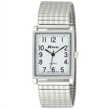 Ravel Gents Rectangular Expander Silver Tone Watch White Face Big Numbers