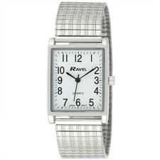 Ravel Gents Rectangular Expander Silver Tone Watch Clear White Face Big Numbers