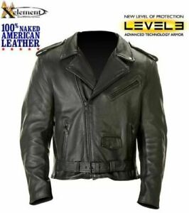 NEW Mens Premium American Naked Leather Armored Motorcycle Biker Jacket 4XL $349
