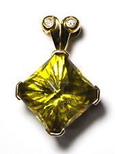 Beautiful 14k Yellow Gold 24mm Lemon Citrine Square Diamond Pendant Large Bale