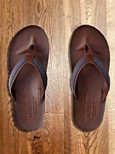 Mens Abercrombie & Fitch A&F Leather Flip Flop Dark Brown/Navy (M) UK8-9 EU42-43