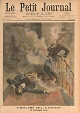 Firefighter Paris Lieutenant Kock Pompier Incendie Escalier 1899 ILLUSTRATION