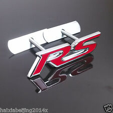Car Red Chrome 3D Metal Front Grille Grill Badge Emblem Decals RS Logo Sticker