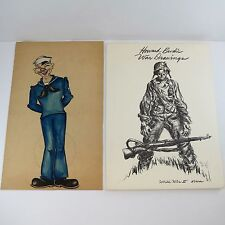 HOWARD BRODIE Original Watercolor SAILOR CARICATURE + SIGNED BOOK Military WWII