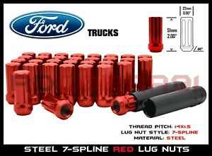 2015-2020 Ford Expedition F-150 7-Spline Lug Nuts Red M14x1.5 USA Grade