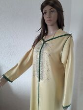 Maroco arabe robe avec capuche-Jaune djellaba Abaya Caftan Robe-Caftan