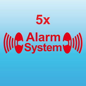 5 Alarm System rot gespiegelt Aufkleber Tattoo Auto Balkon Shop Fenster Scheibe