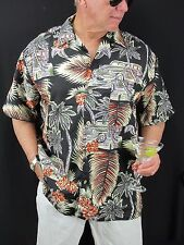 Hawaiian Aloha Shirt O'lico Black Palm Tree Cars Polyester Shirt Men's L H51