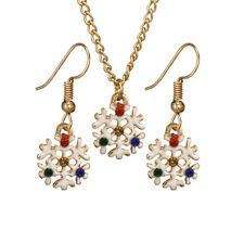 SPARKLY SNOWFLAKE NECKLACE & EARRING SET, GOLD PLATE & ENAMEL PAINT, FREE POST