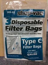 3 Vacuum Bags, GENUINE SHOP VAC Type C Disposable Canister Part 906-69