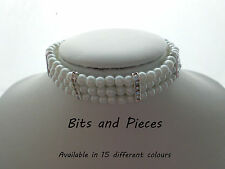 Glass Pearl Choker Necklace with Rhinestone spacers and Matching Earrings