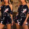 Fashion Women's Strapless Jumpsuit Romper Summer Casual Floral Shorts Playsuit