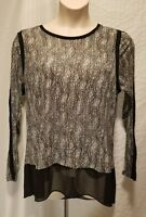 New MICHAEL KORS Women's Plus Size 1X Black & White Long Sleeve Animal Print Top