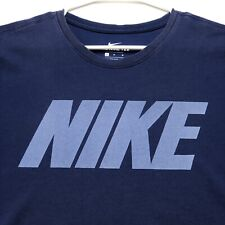 Nike Tee Adult Graphic T Shirt Medium M Blue Spellout Short Sleeve Crew Neck Dri