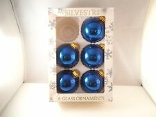 Vintage Lot of 5 Mercury Glass Christmas Ornaments Silvestri Cobalt Blue