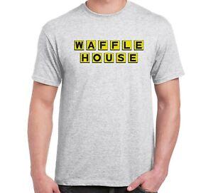 Waffle House T-Shirt  Yellow Grey White Cotton