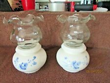 2 Home Interior Blue Rose Ceramic Candle Holders w Votive Cups