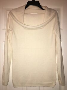 DKNY Pure Tunic Sweater Cream Ivory Wool Cashmere Blend Cowl Neck Size P XS S