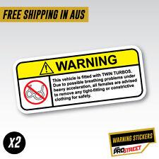 WARNING TWIN TURBOS x2 JDM CAR STICKER DECAL Drift Turbo Euro Fast Vinyl #0609