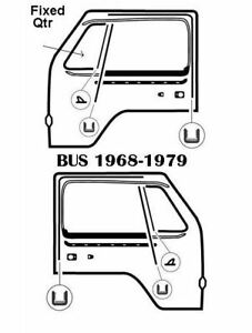 GOOD QUALITY FRONT DOOR RUBBER KIT KOMBI  T2 BUS 1968-1979 LEFT AND RIGHT