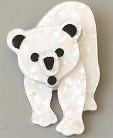 Unique Polar Bear  Pin Brooch In acrylic